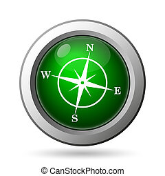 Compass icon. Internet button on white background