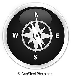 Compass icon premium black round button