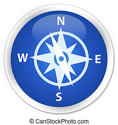 Compass icon premium blue round button