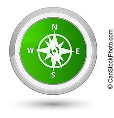Compass icon prime green round button