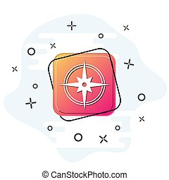 Compass icon. Purple square button. Flat design