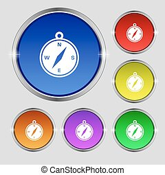compass icon sign. Round symbol on bright colourful buttons. Vector