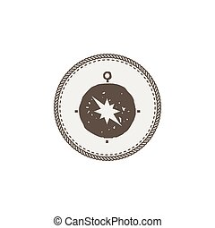 compass icon, sticker. Adventure symbol and patch. Stock vector illustration. Isolated on white background
