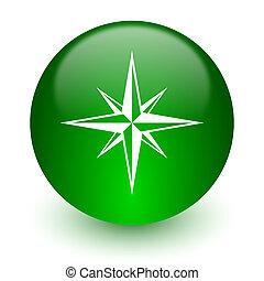 compass icon - green glossy web icon
