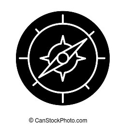 compass icon, vector illustration, black sign on isolated background