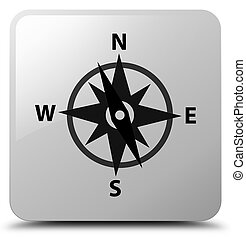 Compass icon white square button