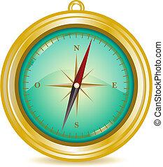 Compass Illustration - Golden Compass Illustration (global...