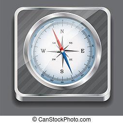 compass., illustration., wektor, połyskujący