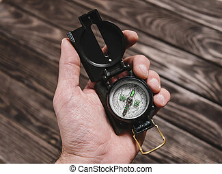 Compass in a hand.