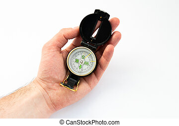 compass in hand on a white background