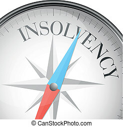 detailed illustration of a compass with insolvency text, eps10 vector