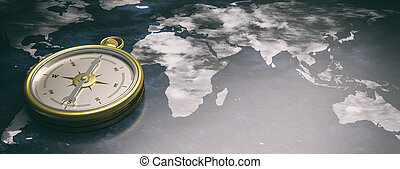 Compass instrument against earth map background. 3d illustration