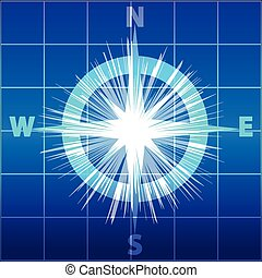 Compass isolated  on blue white background. Vector illustration.