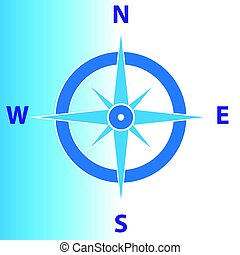 Compass isolated on blue white background