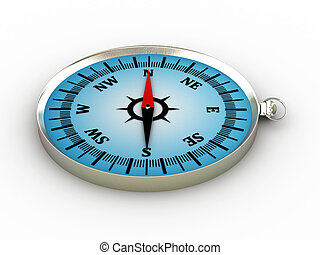 Compass isolated on white background. 3D image