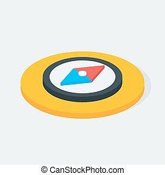 Compass Isometric Circle Icon