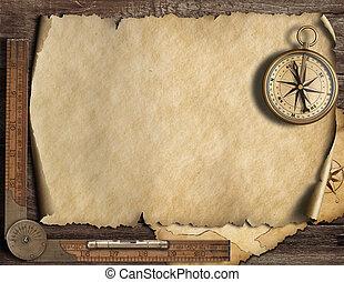 compass., kaart, oud, illustration., reizen, avontuur,...