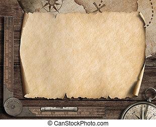 compass., landkarte, altes , illustration., concept., abenteuer, hintergrund, leer, 3d