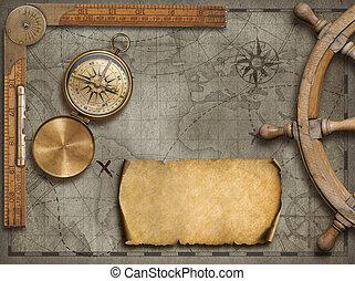 compass., landkarte, altes , illustration., reise, abenteuer, hintergrund, concept., 3d