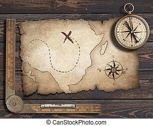 compass., landkarte, altes , illustration., reise, abenteuer, hintergrund, leer, concept., 3d