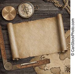 compass., landkarte, altes , illustration., reise, rolle, abenteuer, hintergrund, concept., 3d