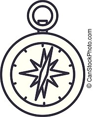 Compass line icon concept. Compass vector linear illustration, symbol, sign