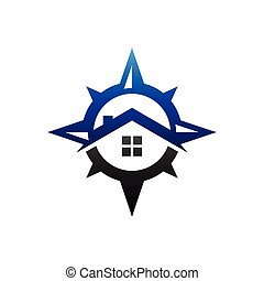 compass logo with home concept