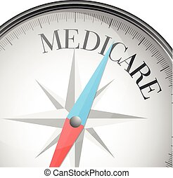compass medicare - detailed illustration of a compass with...