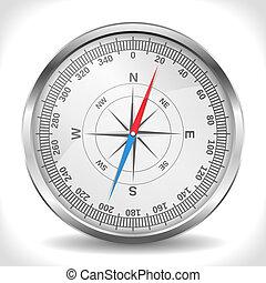 Compass - Metallic compass, vector eps10 illustration