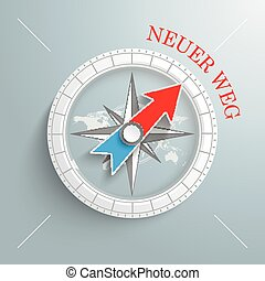 """White compass with red german text """"Neuer Weg"""", translate """"New Way"""" on the grey background."""