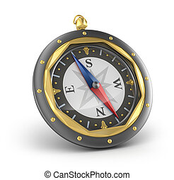 Compass. Old style. Isolated on white
