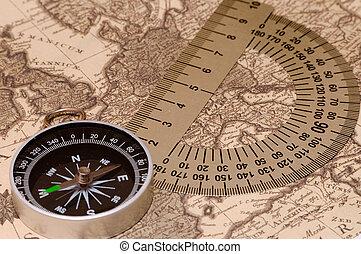 Compass on a card