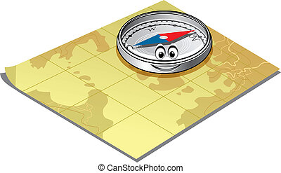 Compass on a map - Cute little magnetic compass with a...