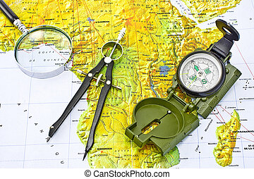 Compass on a map of Africa