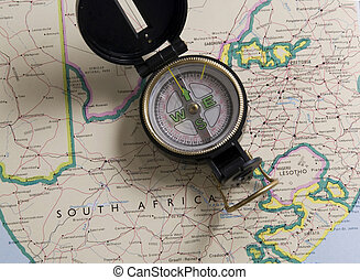 compass on a map of south africa