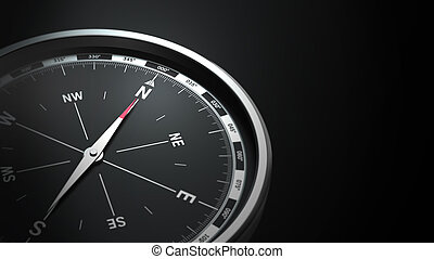 compass on black background with copy space