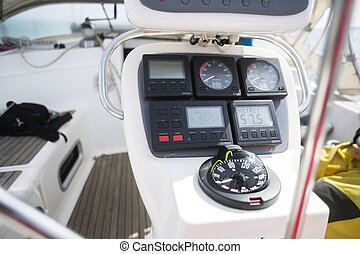 Compass On Dashboard Of Yacht