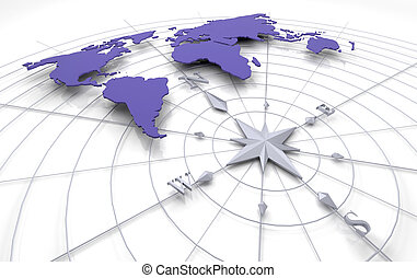 compass on map - 3d render of a compass on a map of the...