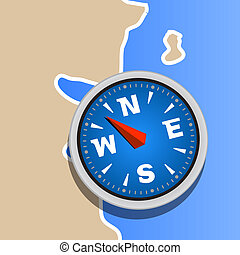 Compass on map clip art