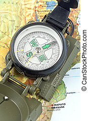 Compass on map of Africa