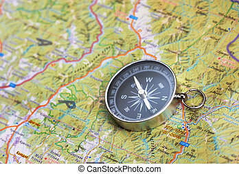 Compass on map