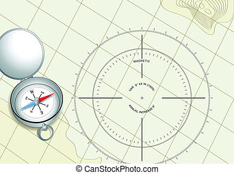Compass on navigation map with compass rose