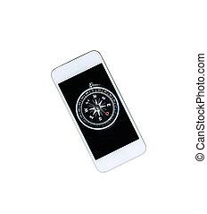 Compass on smartphone for smart navigation concept