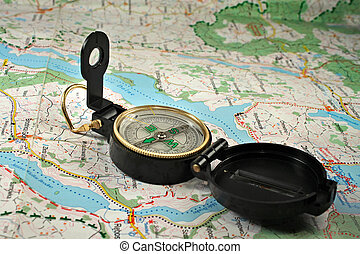 Compass on the detailed map - Black, military compass on the...
