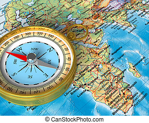 Compass on the map