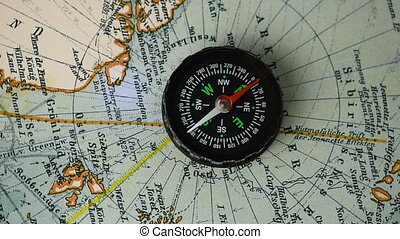 Compass on the map - The compass arrow rotates on the...