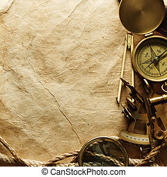 Compass on vintage paper