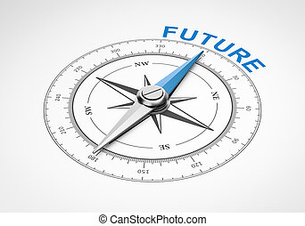 Compass on White Background, Future Concept