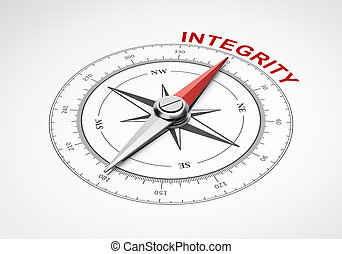 Magnetic Compass with Needle Pointing Red Integrity Word on White Background 3D Illustration