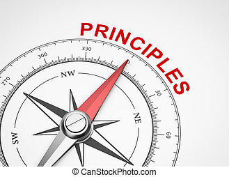 Compass on White Background, Principles Concept